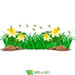 Виниловые наклейки – трава, цветы и пчелы – оформление школы Нуш