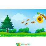 Наліпка на стіну – лісові бджілки – пейзаж