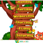 Наліпки з англійської мови – English – days of the week