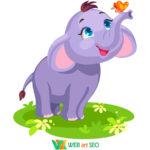 Наклейка слоненка и бабочка
