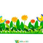 Декор стін Наклейки для школи – травичка з квітами та метеликами