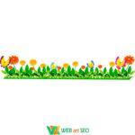 Вінілові наклейки в школу – трава квіти та метелики