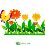 Наклейка травичка з квітами та метеликами